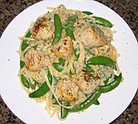 Lime and Green Tea Scallops with Pasta and Peas