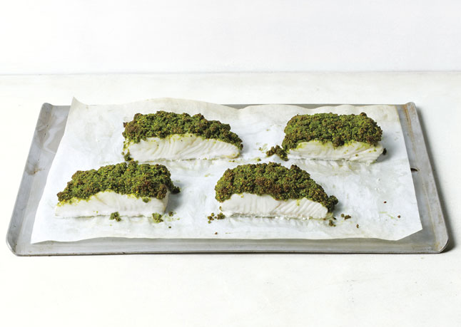 Matcha and Pistachio Crusted Halibut