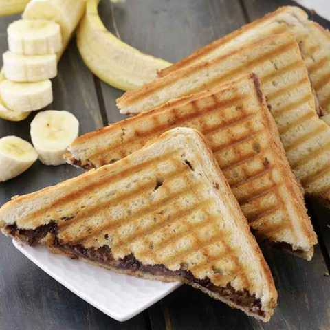 Creamy Banana + Chocolate Grilled Sandwiches